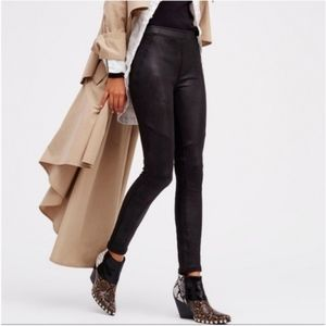 Free People Black Suede Leggings Size 2
